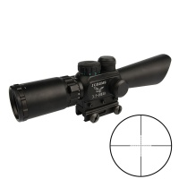 M8 3.5-10X40E Angled Integral Sunshade Red/Green Illuminated Rifle Scope with 20mm rail red laser