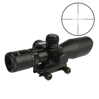2.5-10X40EG/Green Illuminated Angled Integral Sunshade Hunting Rifle Scope / Red Laser /20mm Mount /