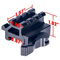 Dual Rail 45/90 Degree Picatinny Riser Mount with Quick Release Lever