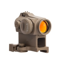 Tactical airsoft QD 1X24 T-2 illuminated red dot sight scope 20mm mount picatinny with flip-up lens cap for hunting  TAN