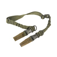 Single Two Point Tactical Dual Bungee Rifle Sling with Quick Connect Clips OD Green