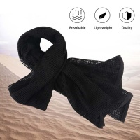 Tactical Military Neck Scarf Mesh Sniper Veil Head Wrap Black